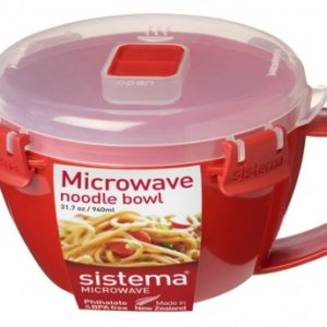 Sistema Microwave Noodle Bowl - 940 ml, Red/Clear-0