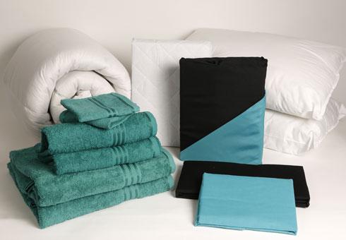Student Linen Starter Pack - Reversible Turquoise and Black Duvet Cover-2909