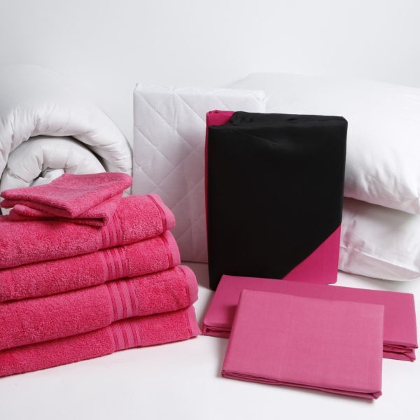 Student Linen Home Comfort Pack - Reversible Pink and Black Duvet Cover-2928