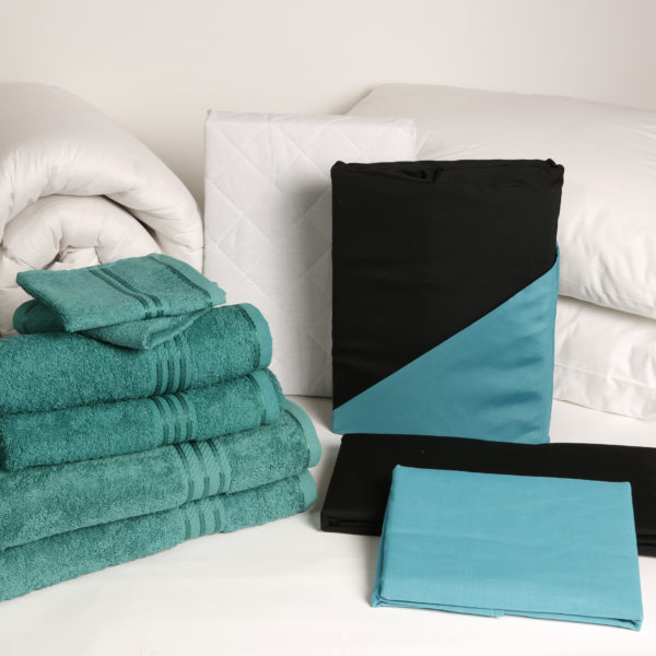Student Linen Home Comfort Pack - Reversible Turquoise and Black Duvet Cover-2934