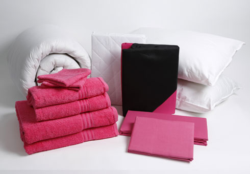 Student Linen Starter Pack - Reversible Pink and Black Duvet Cover-2903