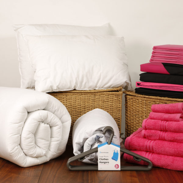 Student Linen Home Comfort Pack - Reversible Pink and Black Duvet Cover-0