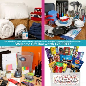 Buy a Student Linen Home Comfort Pack & Kitchen Home Comfort pack and  a Student Stationery Deluxe Pack and get a Welcome Gift Box worth £25 FREE